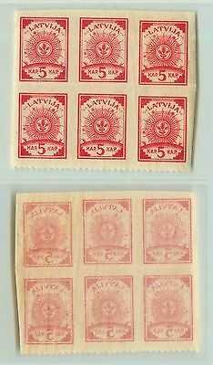 Latvia, 1919, SC 10, MNH, pelure paper, center on the bottom, block of 6. f2891