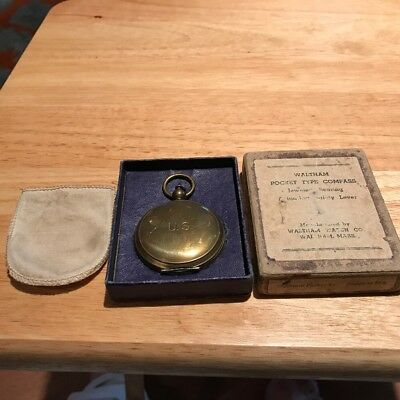 WWII US Waltham Brass Compass With Original Box