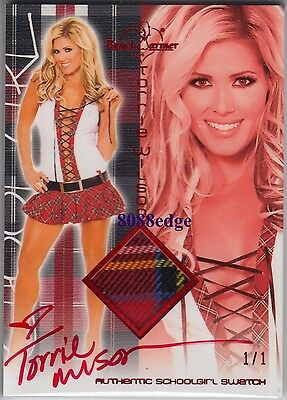 2011 Benchwarmer School Girl Swatch Auto: Torrie Wilson #1/1 Of Red Autograph