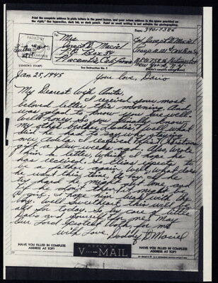 1945 US V-Mail Troop A, 121st Cavalry Rec Sqdn (Luneville, France), APO 758, NY