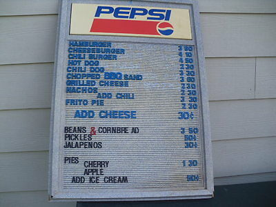 Pepsi Cola menu board 1980's