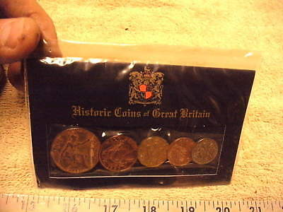 Collector Lot of 5 Historic Coins of Great Britain with Display & Historic Story