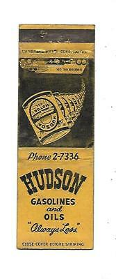 Hudson Gasoline and Oils   Matchcover