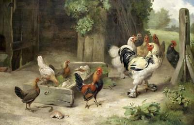 Donkey Ponies and Chickens in Farm Yard  by Edgar Hunt