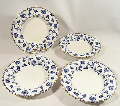 4 Spode Copeland China COLONEL Y6235 BLUE & WHITE 7 7/8 inch Soup BOWLS