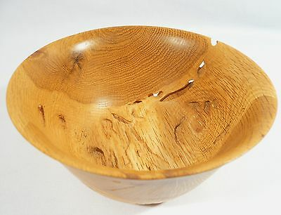 Hand Made ONE PIECE Garry Oak Bowl Teredo Worm Holes Ocean Drift Wood