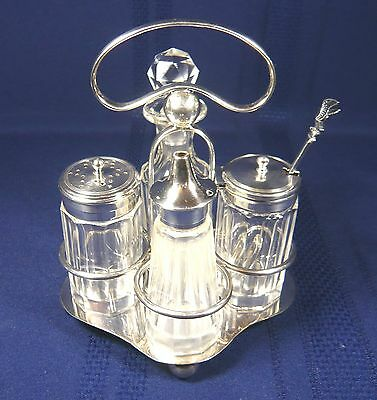 Antique HUKEN & HEATH 5 piece SILVER plate Cut Glass CRUET SET Salt Mustard Pot