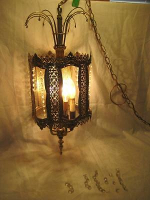 "Vintage 26"" Pierced Brass Hanging Swag Lamp Gothic MCM Style Glass Crystal Drops"