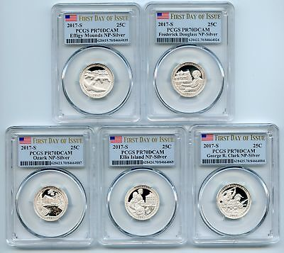 2017 S Silver National Parks Quarter Set PCGS PR70DCAM First Day of Issue