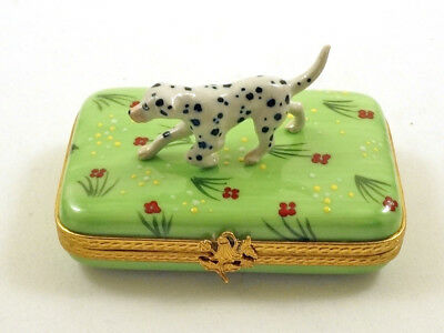 New French Limoges Trinket Box Cute Dalmatian Dog Puppy On Grass With Flowers