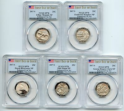 2017 S National Parks Quarter Set Enhanced PCGS SP70 First Day of Issue