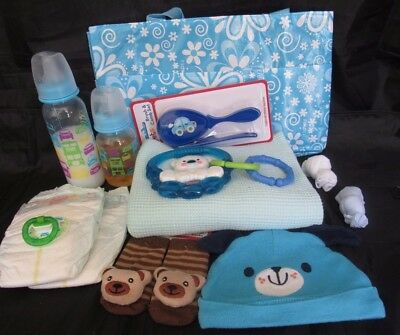 Reborn baby Complete Diaper bag doll milk & juice bottles rattle pacifier + more