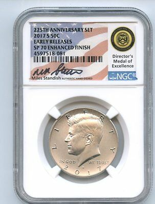 2017 S 50C Kennedy Half Dollar Enhanced NGC SP70 Miles Standish