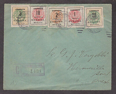 Mexico - 1915 Certificado cover with 5 different Sonora stamps