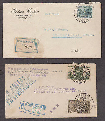 Mexico - 1932/39 Four Certificado covers with many backstamps