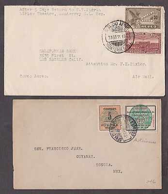 Mexico - 1911/35 Three covers with cartero 36 and 44 and left hand handstamp