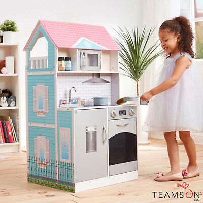 Teamson Kids Posh 2 in 1 Kitchen Dollhouse with 14 Accessories Pretend Play Toy