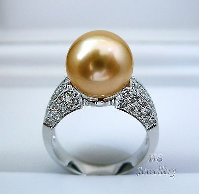 HS Rare Golden South Sea Cultured Pearl 11.05mm Diamonds .792tcw 18KWG Ring AAA