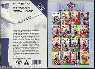 1996 Post Office Pack - Centenary of the AFL Sheetlet MUH