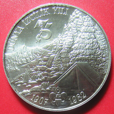 "Nd(1983) Turkey 3000 Lira Silver Rare ""london Tower"" Mint Mark Year Of The Scout"