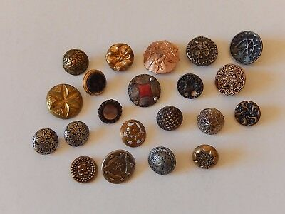 Lot Anciens Boutons Fantaisie Metal