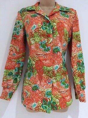 Vintage 1970's Orange & Green Vases Flowers & Church Print Shirt Size 12-14