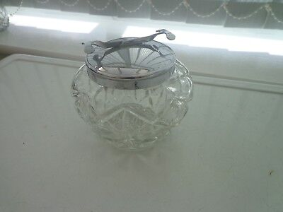 Vintage Glass Sugar Bowl Chromed Metal Lid With Built In Spring Loaded Tongs