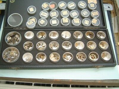 Watchmaker lot watch Parts In nice Box with compartments Part for watch repairer