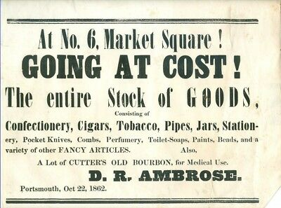 1862 Broadside Sale of Goods at Market Square Store Portsmouth, New Hampshire