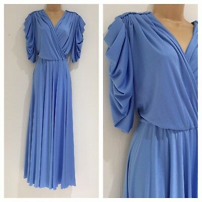 Vintage 70's Pale Blue Grecian Goddess Pleated Bodice Party Occasion Dress 12-14