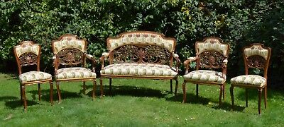 Original Italian Art Nouveau Sofa Chairs Salon Set Walnut c.1900