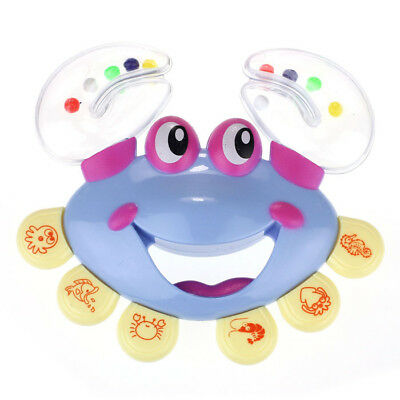 Kid Baby Children Crab Design Handbell Musical Instrument Jingle Rattle Toy Blue
