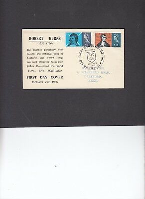 1966 Robert Burns unusual illustration First Day Cover. Rare