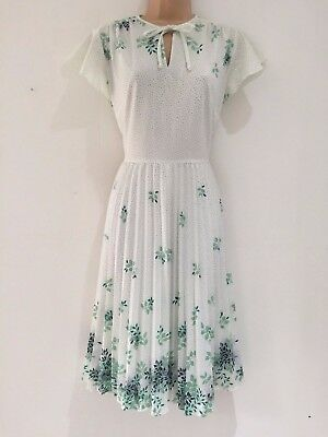 Vintage 80's White & Green Floral Polka Dot 40's Style Pleated Tea Dress 12