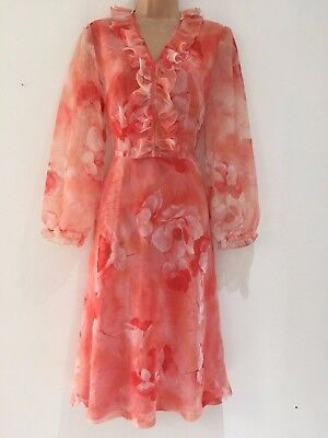 Vintage 70's Pretty Coral Orange Floral Print Ruffle Trim Occasion Dress Size 12