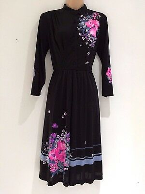 Vintage 80's Louis Feraud Black Pink Grey Floral Stripe Signed Fabric Dress 10