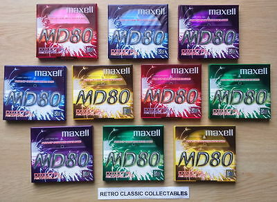10 X Maxell MD 80 minidiscs - NEW / SEALED.- FREE U.K. POSTAGE