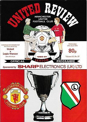 Football Programme>MAN UTD v LEGIA WARSAW Apr 1991 ECWC Semi-Final