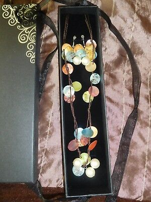 Beautiful Multicoloured Necklace & Earrings Set Boxed Ideal Christmas Gift