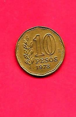 Argentina Km72 1978 Vf-Very Fine-Nice Large Old 10 Pesos Coin
