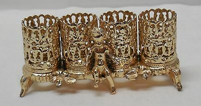 Lipstick Holder Cherub Child Leaves Footed Four Gold Colored Metal Vintage