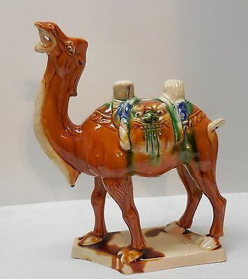 Camel Two Gargoyle Faces on Saddle with Fangs Marked Pottery Vintage Chinese