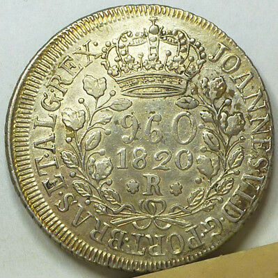Brazil 960 Reis 1820-R EF/Almost Uncirculated
