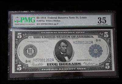 1914 Series St. Louis PMG 35 $5 Dollar Large Size Federal Reserve Note (mb1353)