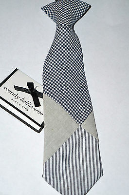 """WENDY BELLISSIMO Baby Boy's Tie Accessory 12-24M """"Navy""""  Stripe/Check NWT"""