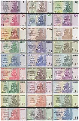 Zimbabwe Full Set of 27 Banknotes All Uncirculated UNC 2007-2008  (ZmF27)