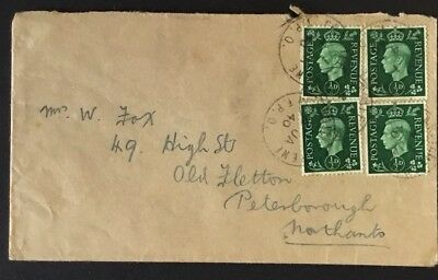 KGVI 1940 TPO Crewe Cardiff Travelling Post Office Old Fletton Peterborough