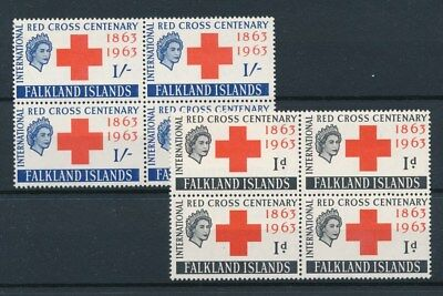 [92943] Falkland Islands 1963 Red Cross good set VF MNH stamps in blocks of 4