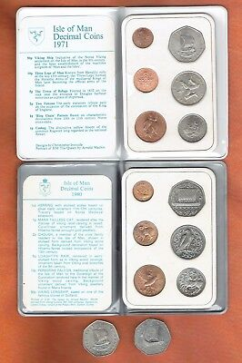 TWO ISLE OF MAN COIN SETS  1971 & 1980 . AND TWO I.O.M 50p COINS  1971 & 1979