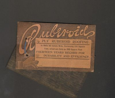 1905 Advertising Card with Sample Ruberoid Roofing 1/2 Ply Durability Efficiency
